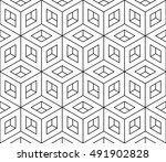 isometric hollow cube pattern ... | Shutterstock .eps vector #491902828