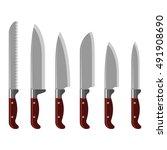 set of steel kitchen knifes... | Shutterstock .eps vector #491908690