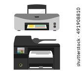 realistic printer machine sign... | Shutterstock .eps vector #491908810