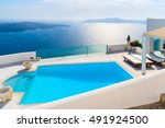 view of caldera and swimming... | Shutterstock . vector #491924500