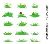 Vector Flat Grass Set Isolated...