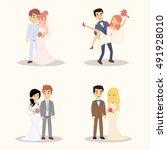 wedding couple cartoon...   Shutterstock .eps vector #491928010