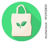 eco bag with leaves flat design ... | Shutterstock .eps vector #491933854