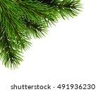 super realistic fir branches.... | Shutterstock .eps vector #491936230