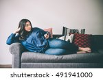 beautiful plus size girl lying... | Shutterstock . vector #491941000