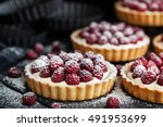 delicious raspberry mini tarts  ... | Shutterstock . vector #491953699