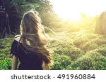 young woman staring at the... | Shutterstock . vector #491960884