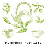 green tea set with leaves ... | Shutterstock .eps vector #491961658