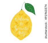 greetings from sorrento. hand... | Shutterstock .eps vector #491963374