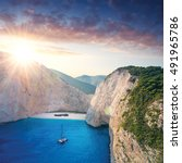 the amazing navagio beach in... | Shutterstock . vector #491965786