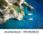sailboats in a beautiful bay ... | Shutterstock . vector #491965810