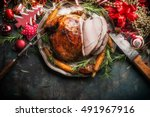 traditional sliced roasted... | Shutterstock . vector #491967916