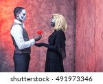 zombie couple with freaky make... | Shutterstock . vector #491973346