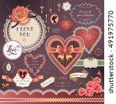 set of vintage decorative... | Shutterstock .eps vector #491975770