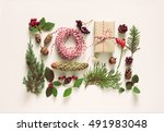 collection of christmas natural ... | Shutterstock . vector #491983048