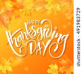 vector hand drawn thanksgiving... | Shutterstock .eps vector #491983729