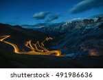 Scenic Stelvio Pass. Italian Mountain Pass Road Scenery - stock photo