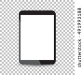 tablet with white screen flat... | Shutterstock .eps vector #491993188