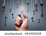 choosing the key to success... | Shutterstock . vector #491993539