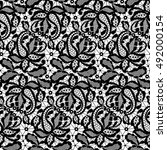 black lace pattern on a white... | Shutterstock . vector #492000154