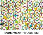 colorful geometric backdrop | Shutterstock . vector #492001483