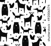 black and white forest animals... | Shutterstock .eps vector #492006574