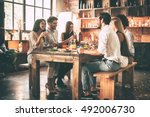 dinning with best friends.... | Shutterstock . vector #492006730