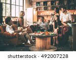 spending great time with best... | Shutterstock . vector #492007228