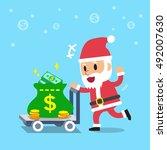 cartoon santa claus pushing... | Shutterstock .eps vector #492007630