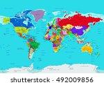 world map  political  in high... | Shutterstock .eps vector #492009856