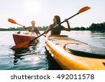 nice day on the lake. beautiful ... | Shutterstock . vector #492011578