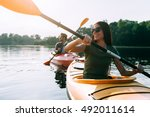 nice day for kayaking.... | Shutterstock . vector #492011614