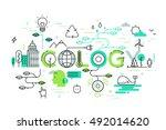 thin line flat design banner... | Shutterstock .eps vector #492014620