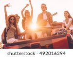 road trip fun. group of young...   Shutterstock . vector #492016294