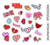 fashion patch badges. hearts... | Shutterstock . vector #492016366