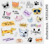 fashion patch badges. cat and... | Shutterstock . vector #492016390