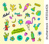 fashion patch badges. tropical... | Shutterstock . vector #492016426