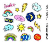 fashion patch badges. sky set.... | Shutterstock . vector #492016438