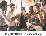 cheers to us  cheerful young... | Shutterstock . vector #492017683