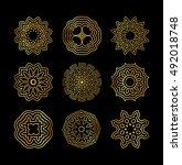 template gold mandala circle of ...   Shutterstock . vector #492018748