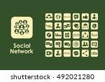 set of social network simple... | Shutterstock .eps vector #492021280