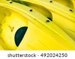 Detail Of Kayaks Boats. Yellow...