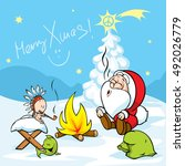 merry xmas   santa with baby...   Shutterstock .eps vector #492026779