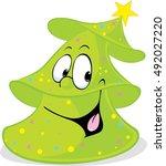 funny green xmas fir tree... | Shutterstock .eps vector #492027220