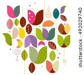 abstract variety floral graphic ... | Shutterstock .eps vector #492029740