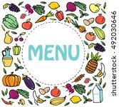 vegetarian food. vegetarianism... | Shutterstock .eps vector #492030646