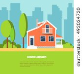 modern stylish suburb landscape ... | Shutterstock .eps vector #492034720