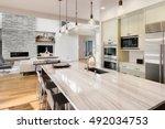 kitchen with island  sink ... | Shutterstock . vector #492034753
