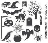 halloween vintage icon  emblem... | Shutterstock .eps vector #492037264
