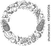 monochrome round frame of... | Shutterstock .eps vector #492049306